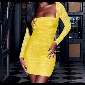 Dresses & Skirts - Yellow rouched bodycon dress